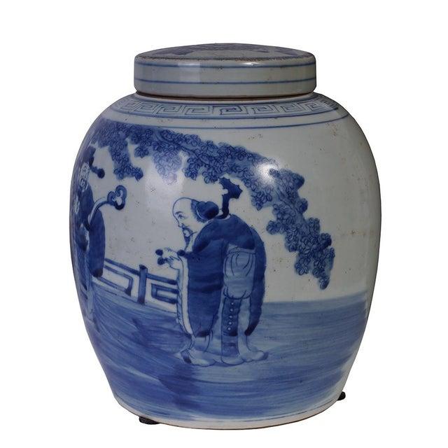 Asian Vintage Chinese Porcelain Lidded Jar For Sale - Image 3 of 8