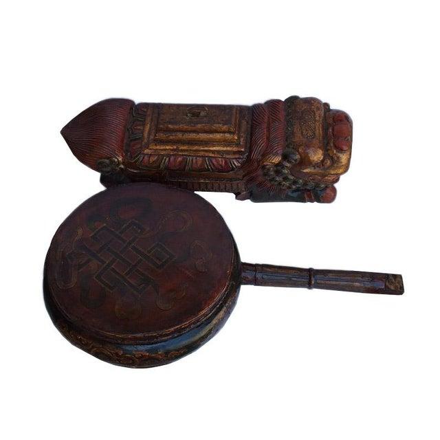 Vintage Tibetan Wooden Music Instrument Statue For Sale - Image 5 of 6