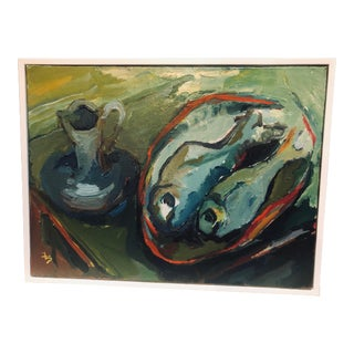Late 20th Century Fay Singer Original Still Life with Fish Oil Painting For Sale