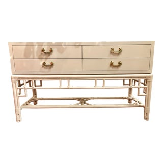 MCM White Lacquered Credenza With Bamboo Base For Sale