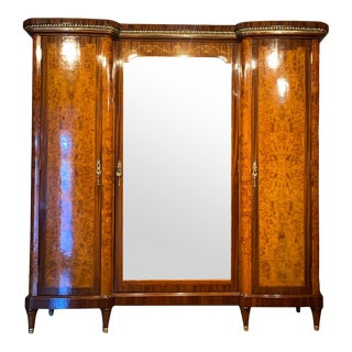 Antique French Burled Walnut Armoire For Sale