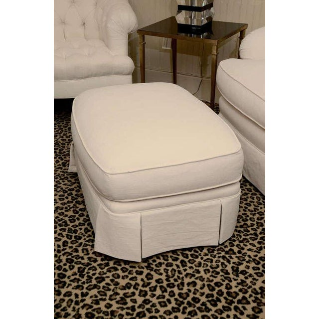 Ivory Tufted Swivel Chair For Sale In New York - Image 6 of 9