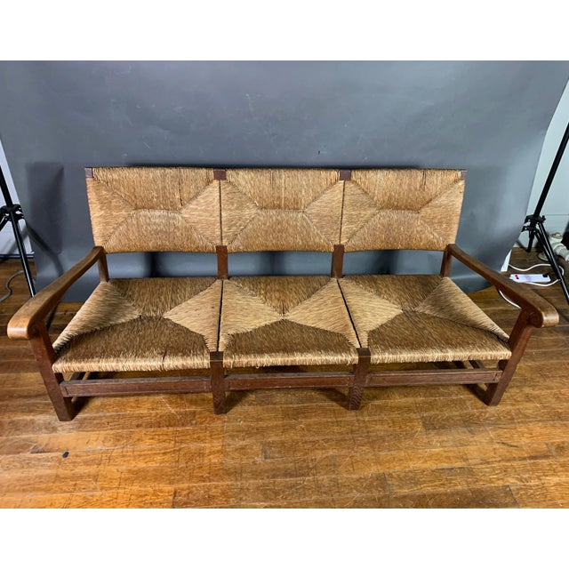 Country Large 1940s Continental Woven Rush 3-Seat Settee For Sale - Image 3 of 13
