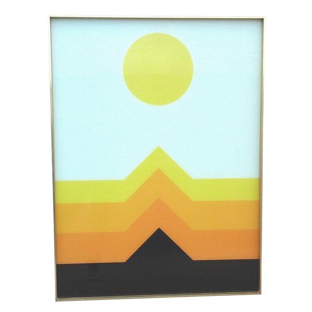 1970s OpArt Geometric Framed Print - Image 1 of 5