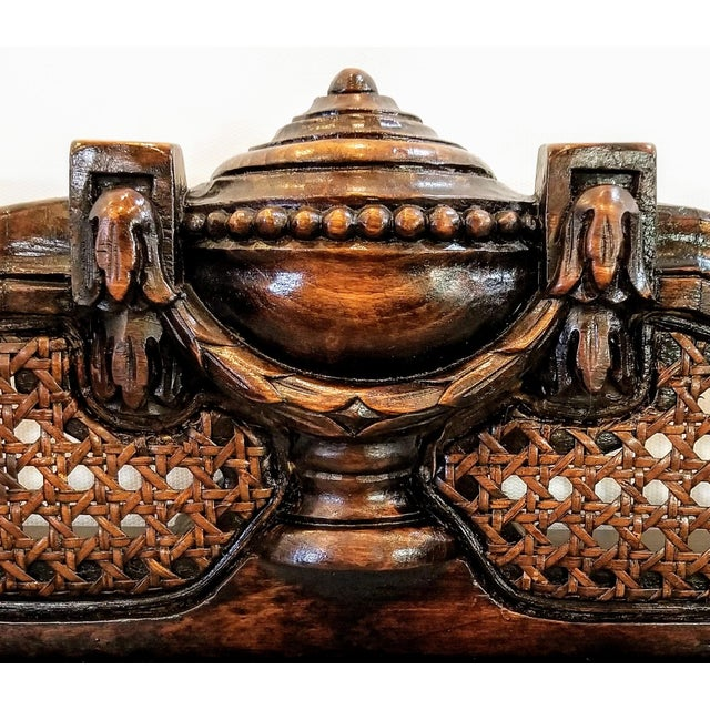 Antique Carved and Caned Window Settee With Neoclassic Motifs For Sale - Image 9 of 10