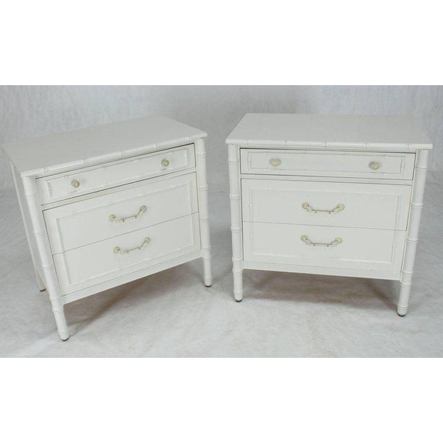 Mid-Century Modern White Lacquer Faux Bamboo Nightstands - a Pair For Sale - Image 9 of 10