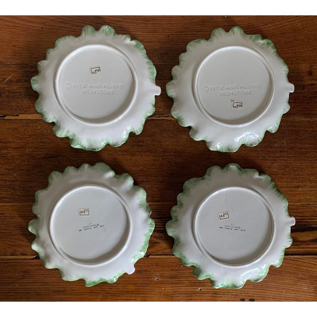 Vintage Fitz & Floyd Cabbage Leaf Ironstone China Dessert Plates- Set of 4 For Sale In Philadelphia - Image 6 of 9