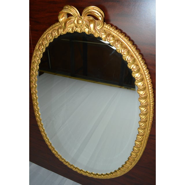 Oval Italian Gilt Mirror with Bow For Sale - Image 10 of 12