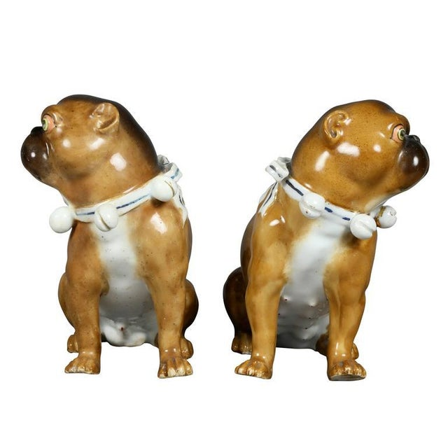 Traditional Pair of German Porcelain Figures of Seated Pugs For Sale - Image 3 of 9