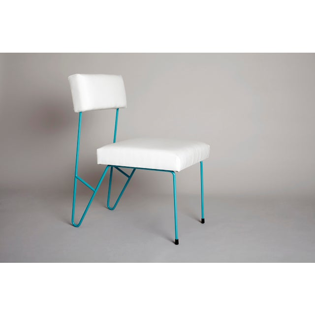 Contemporary Fay Outdoor Dining Side Chair, White Upholstered Sunbrella with Turquoise Powder Coated Stainless Steel Base For Sale - Image 3 of 3