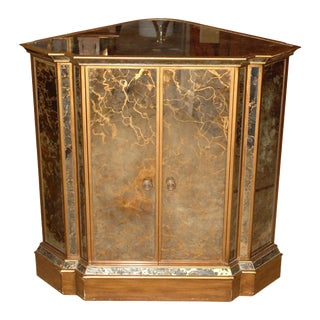 Mid Century Vintage Mirrored Corner Cabinet For Sale