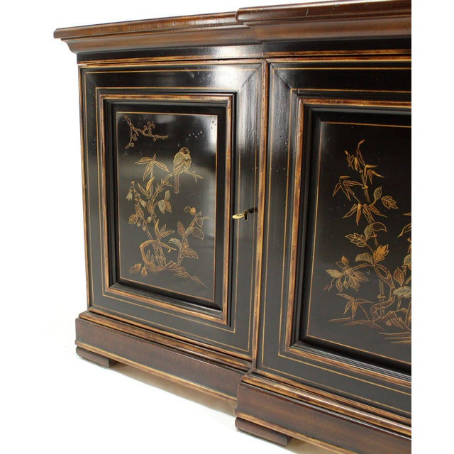 Drexel Two Tone Chinoiserie Four Doors Drexel Server Cabinet For Sale - Image 4 of 10