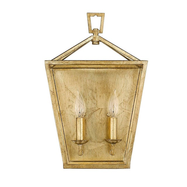 Metal Ponce City 2 Light Sconce, Gilded Gold For Sale - Image 7 of 8