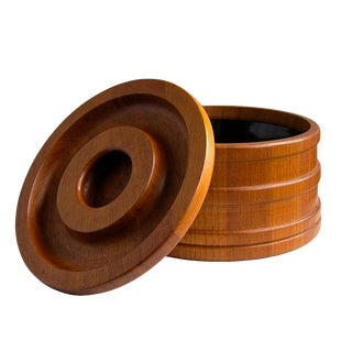 Dansk Staved Teak Banded Ice Bucket by Jens Quistgaard Ihq For Sale