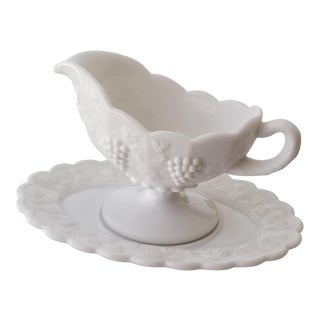 Mid-Century Modern Grapes Pattern Milk Glass Gravy Boat and Saucer - Set of 2 For Sale