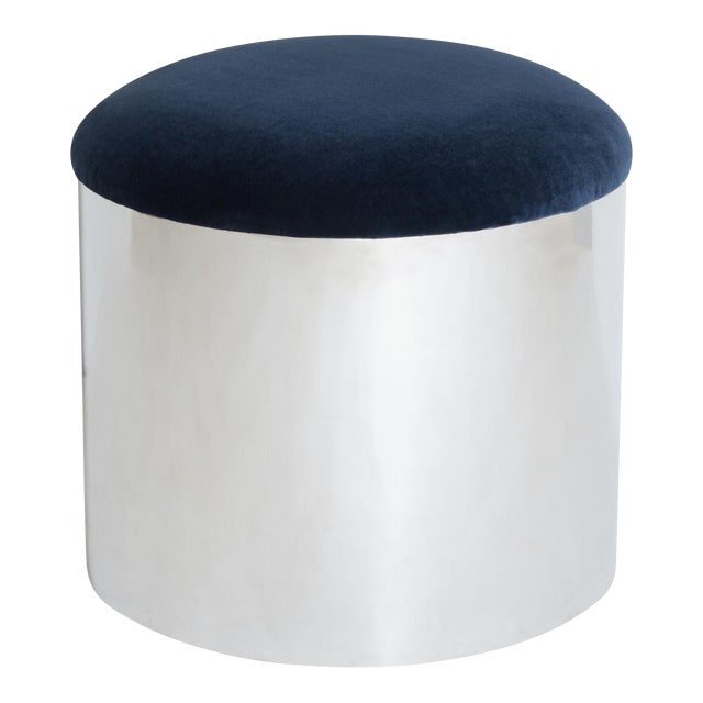 "Chrome ""Mushroom"" Pouf in Navy Velvey For Sale"