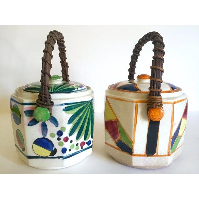 1930s Rare Vintage 1930's Art Deco Japan Hand Painted Porcelain Handled Ceramic Biscuit Barrel Jars - Set of 2 For Sale - Image 5 of 13