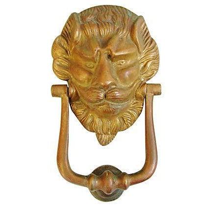 Vintage Lion Door Knocker & Strike Button - Image 1 of 8