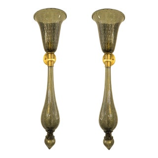 Large Mid-Century Khaki/Gold Murano Glass Sconces, Venini Style - a pair For Sale