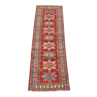 Early 19th Century Antique Caucasian Kazak Colorful Wool Runner - 2′8″ × 9′10″ For Sale