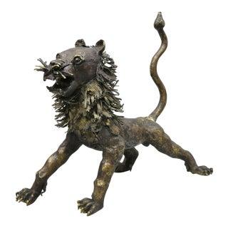 "Brutalist Bronze 34"" Bronze Lion Tiger Foo Dog Abstract Sculpture Figure For Sale"