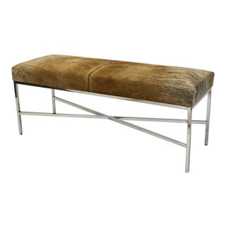 Chrome Finish & Cow Hide Upholstered Bench