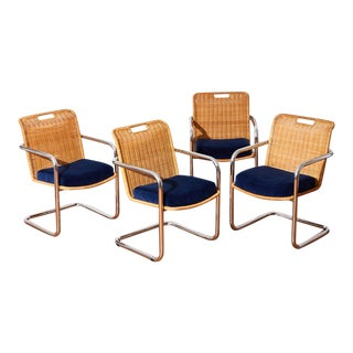 Rattan and Chrome Chairs by Chromcraft - Set of 4 For Sale