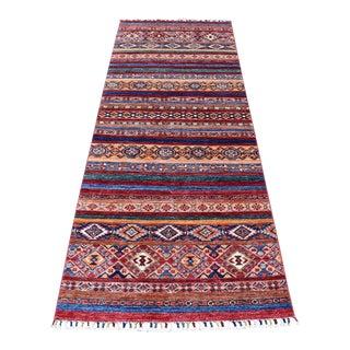 """Red Khorjin Design Runner Kazak Tribal Hand Knotted Wool - 3'0"""" x 8'3"""" For Sale"""