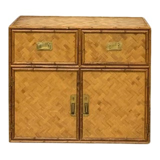 Wicker Faux Bamboo and Basketweave Dresser For Sale