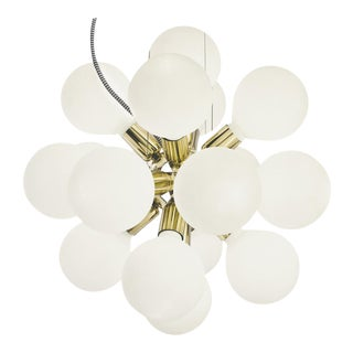 Modern Glass Chandelier in polished brass with 18 white halogen bulbs (width 52cm/21 inches)