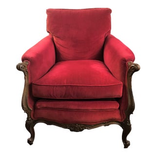 Early 20th Century Red Velvet Club Over Stuffed Louis XV Style Bergere Chair For Sale