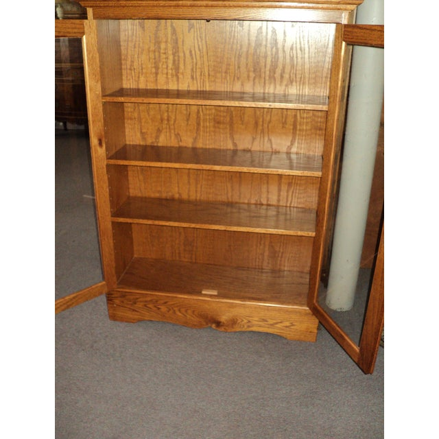 Traditional Custom Built Two Door Solid Oak Bookcase For Sale - Image 3 of 7