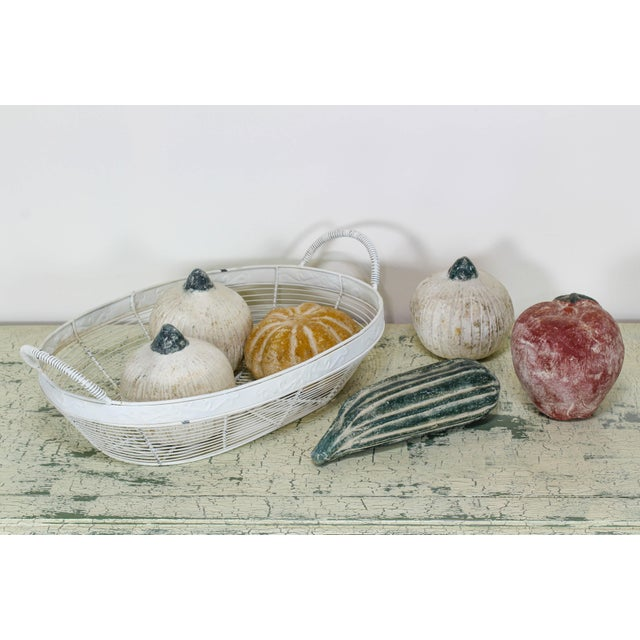 Mid-Century Modern Wired Basket With Terracotta Fruits, Terracotta Fruits For Sale - Image 3 of 6