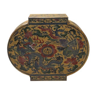 Chinese Yellow Lacquer Dragon Box For Sale