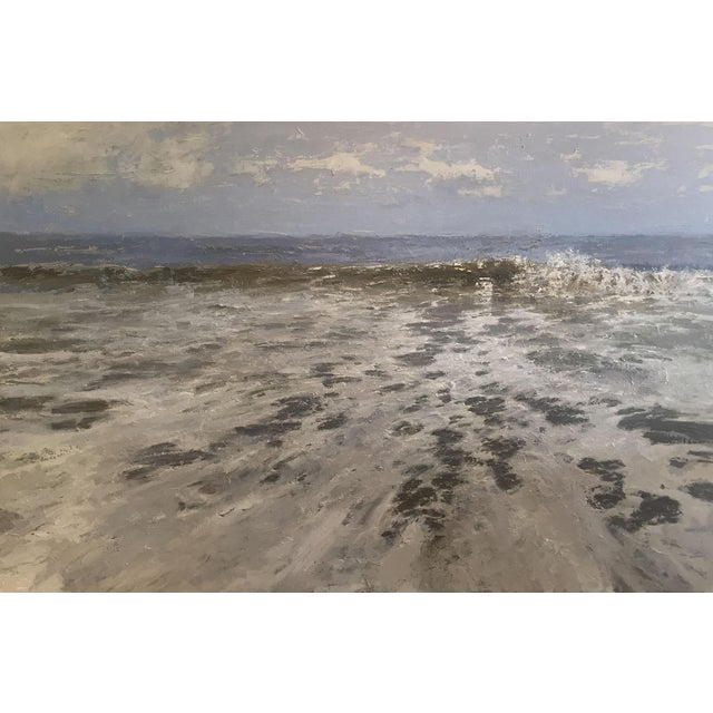 """Beckham Oil Painting """"Ocean in March"""", Contemporary Large Green and Blue Seascape For Sale"""