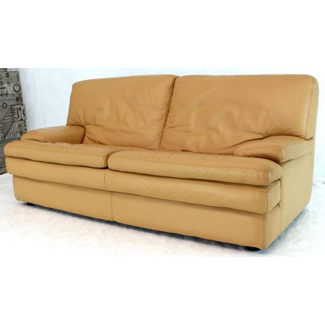Mid-Century Modern Roche Bobois Light Peach Leather Loveseat Small Sofa For Sale - Image 3 of 11