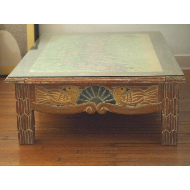Disenos Caaesa Mexican Painted & Carved Coffee Table For Sale - Image 5 of 8