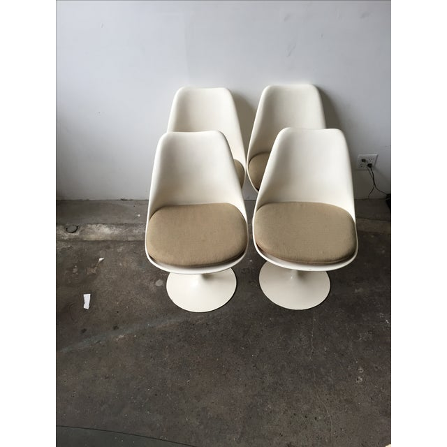 Knoll White Vintage Tulip Swivel Chairs - Set of 4 - Image 2 of 9