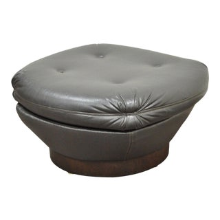 Vintage Mid Century Modern Tufted Brown Vinyl Walnut Chair Ottoman Foot Stool