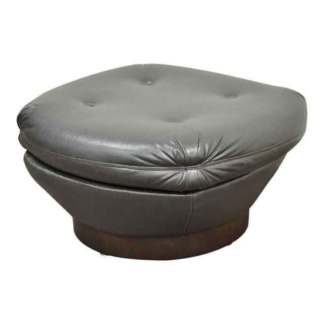 Vintage Mid Century Modern Tufted Brown Vinyl Walnut Chair