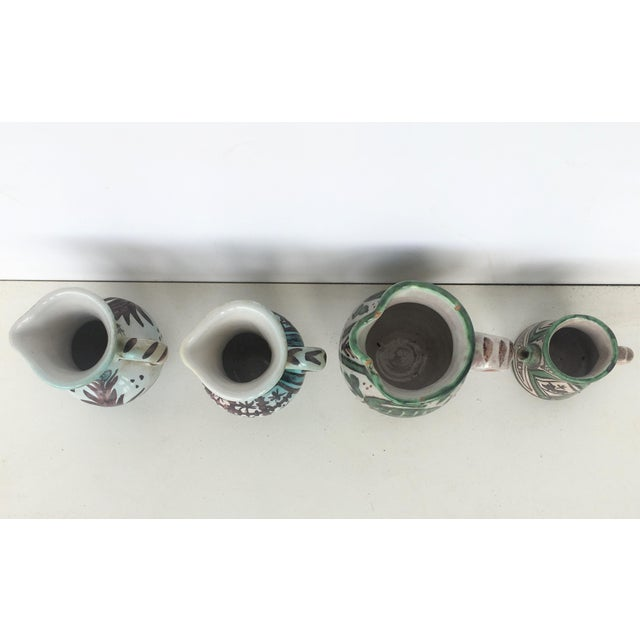 19th Set of Four Glazed Terrracota Vases , Urns, Pitchers in Green & White For Sale - Image 4 of 12