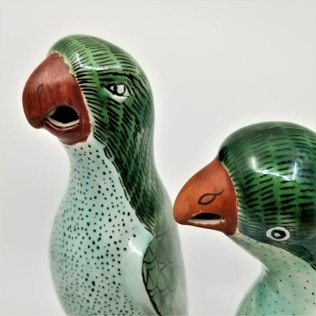 Ceramic Vintage Chinese Pair of Parrots Figurines - Porcelain Ceramic Glazed Tile Totem Green Bird Animal Tropical Coastal Palm Beach Boho Chic For Sale - Image 7 of 13