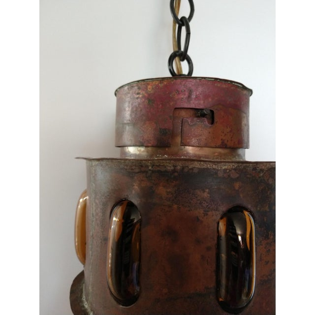Mid 20th Century Mid Century Copper and Imprisoned Amber Glass Lantern For Sale - Image 5 of 9