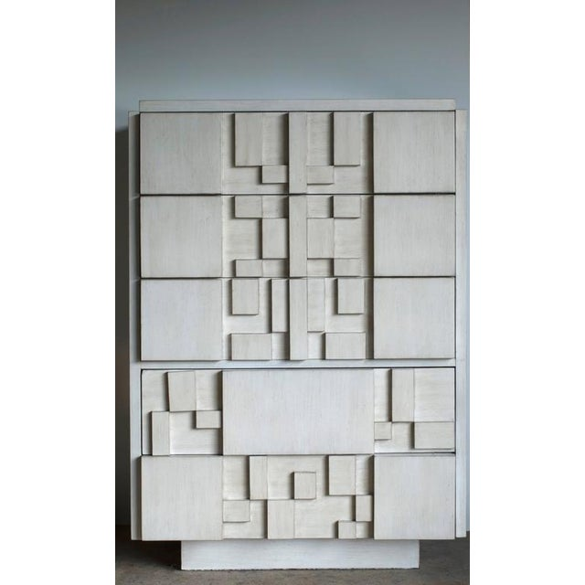 "Inspired by Paul Evans this Brutalist / Cubist tallboy chest dresser, ""Staccato"" collection produced by The Lane Furniture..."