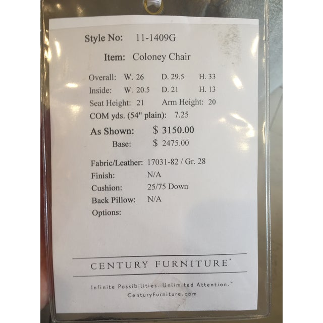 "Century Furniture Linen Skirted ""Coloney"" Chair - Image 7 of 7"
