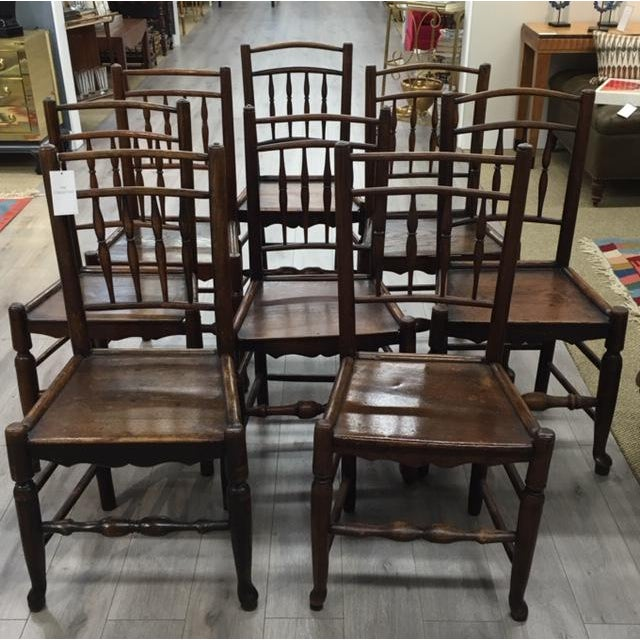 Wood Oak Side Chairs- Set of Eight For Sale - Image 7 of 7
