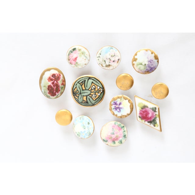 Antique Hand-Painted Porcelain Studs/Buttons - Set of 12 - Image 11 of 11