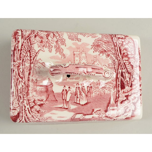 Mason's Vista Pink Large Cheese Dish With Lid For Sale - Image 4 of 8