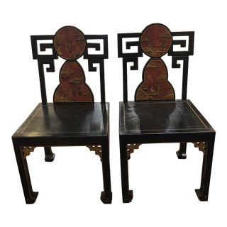 Mid-Century Chinoiserie Chairs - a Pair For Sale