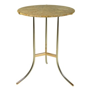 Cedric Hartman Side Table, Steel and Brass Base For Sale